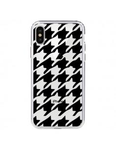 Coque Vichy Gros Carre noir Transparente pour iPhone X - Petit Griffin