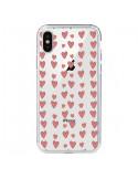 Coque Coeurs Heart Love Amour Rouge Transparente pour iPhone X - Petit Griffin