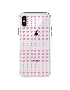 Coque Coeurs Heart Love Amour Rose Transparente pour iPhone X - Petit Griffin