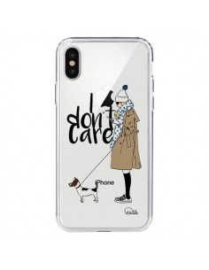 Coque I don't care Fille Chien Transparente pour iPhone X - Lolo Santo