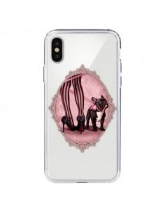 Coque Lady Jambes Chien Bulldog Dog Rose Pois Noir Transparente pour iPhone X - Maryline Cazenave
