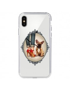 Coque Lady Jambes Chien Bulldog Dog Transparente pour iPhone X - Maryline Cazenave