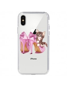 Coque Chaton Chat Kitten Chaussures Shoes Transparente pour iPhone X - Maryline Cazenave