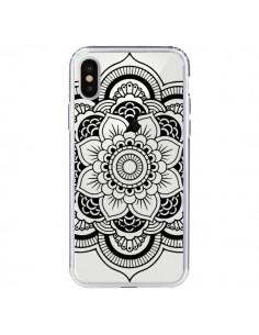 Coque iPhone X et XS Mandala Noir Azteque Transparente - Nico