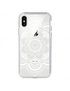 Coque iPhone X et XS Mandala Blanc Azteque Transparente - Nico