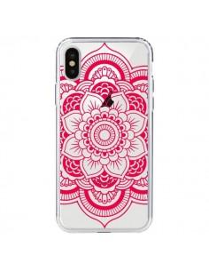 Coque iPhone X et XS Mandala Rose Fushia Azteque Transparente - Nico