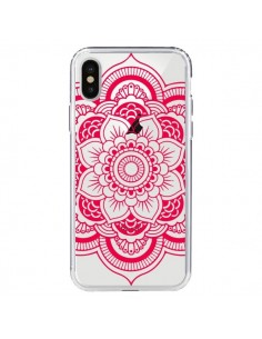 Coque Mandala Rose Fushia Azteque Transparente pour iPhone X et XS - Nico