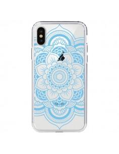 Coque iPhone X et XS Mandala Bleu Azteque Transparente - Nico