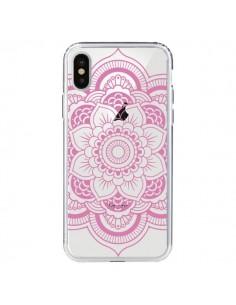 Coque iPhone X et XS Mandala Rose Clair Azteque Transparente - Nico