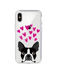Coque iPhone X et XS Boston Terrier Coeurs Chien Transparente - Pet Friendly