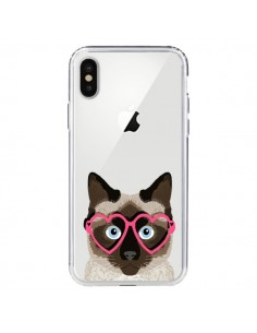 Coque iPhone X et XS Chat Marron Lunettes Coeurs Transparente - Pet Friendly