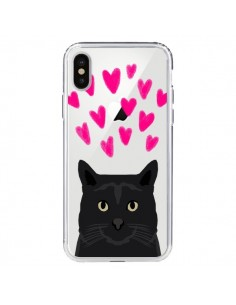 Coque Chat Noir Coeurs Transparente pour iPhone X - Pet Friendly