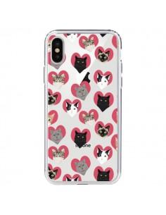 Coque iPhone X et XS Chats Coeurs Transparente - Pet Friendly