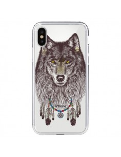 Coque Loup Wolf Attrape Reves Transparente pour iPhone X - Rachel Caldwell