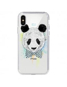 Coque Panda Noeud Papillon Transparente pour iPhone X - Rachel Caldwell