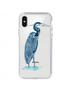 Coque Heron Blue Oiseau Transparente pour iPhone X - Rachel Caldwell