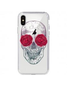 Coque Tête de Mort Rose Fleurs Transparente pour iPhone X - Rachel Caldwell