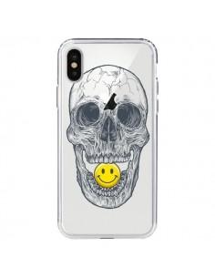 Coque Tête de Mort Smiley Transparente pour iPhone X - Rachel Caldwell