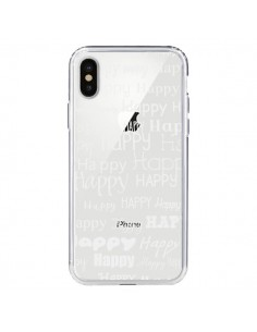Coque Happy Happy Blanc Transparente pour iPhone X - R Delean