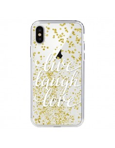 Coque Live, Laugh, Love, Vie, Ris, Aime Transparente pour iPhone X - Sylvia Cook