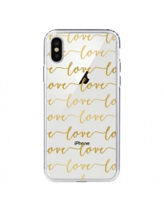 Coque Love Amour Repeating Transparente pour iPhone X - Sylvia Cook