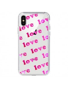 Coque Pink Love Rose Transparente pour iPhone X - Sylvia Cook