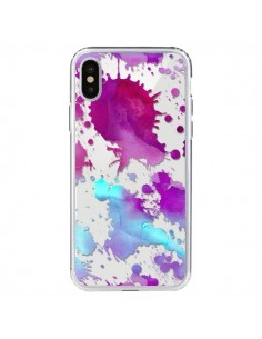 Coque Watercolor Splash Taches Bleu Violet Transparente pour iPhone X - Sylvia Cook