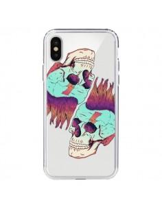 Coque Tête de Mort Crane Punk Double Transparente pour iPhone X - Victor Vercesi
