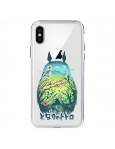 Coque iPhone X et XS Totoro Manga Flower Transparente - Victor Vercesi
