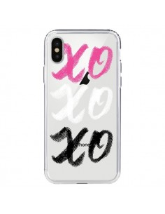 Coque iPhone X et XS XoXo Rose Blanc Noir Transparente - Yohan B.
