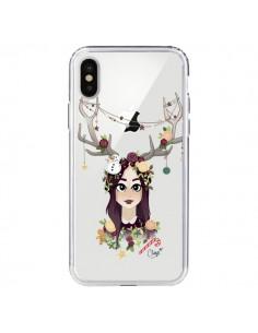 Coque Christmas Girl Femme Noel Bois Cerf Transparente pour iPhone X - Chapo
