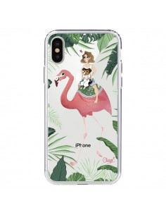 Coque Lolo Love Flamant Rose Chien Transparente pour iPhone X - Chapo