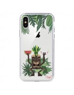 Coque Tiki Thailande Jungle Bois Transparente pour iPhone X - Chapo