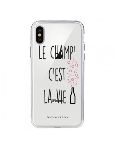 Coque Le Champ, c'est la Vie Transparente pour iPhone X et XS - Les Vilaines Filles