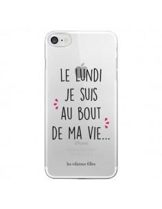 Coque iPhone 7/8 et SE 2020 Le lundi, je suis au bout de ma vie Transparente - Les Vilaines Filles