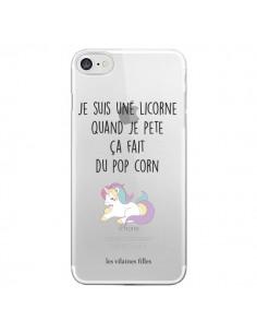 Coque iPhone 7 et 8 Je suis une licorne, quand je pète ça fait du pop corn Transparente - Les Vilaines Filles