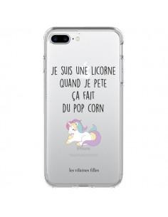 Coque iPhone 7 Plus et 8 Plus Je suis une licorne, quand je pète ça fait du pop corn Transparente - Les Vilaines Filles