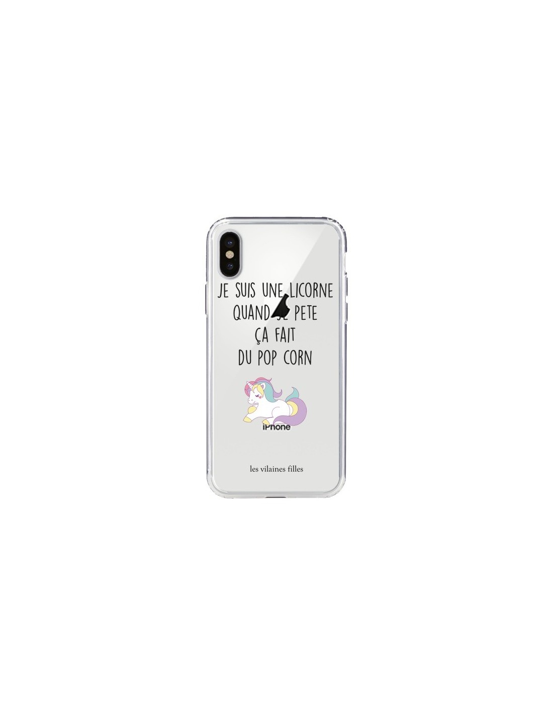 coque je suis une licorne quand je p te a fait du pop corn transparente pour iphone x les. Black Bedroom Furniture Sets. Home Design Ideas