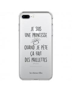 Coque iPhone 7 et 8 Je suis une princesse quand je pète ça fait des paillettes Transparente - Les Vilaines Filles