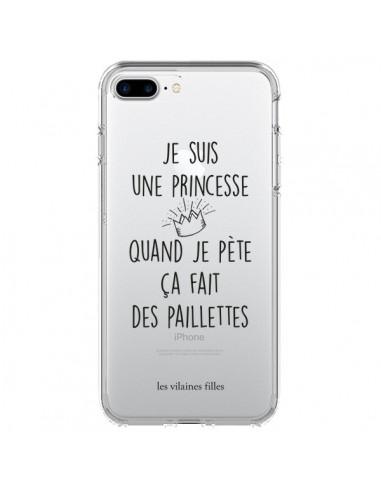 coque iphone 7 8 se 2020 je suis une princesse quand je pete ca fait des paillettes transparente les vilaines filles