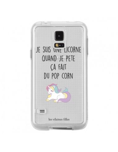 Coque Je suis une licorne, quand je pète ça fait du pop corn Transparente pour Samsung Galaxy S5 - Les Vilaines Filles