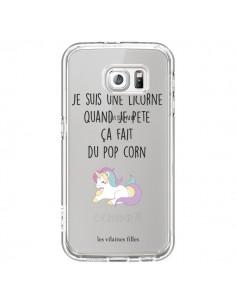 Coque Je suis une licorne, quand je pète ça fait du pop corn Transparente pour Samsung Galaxy S6 - Les Vilaines Filles