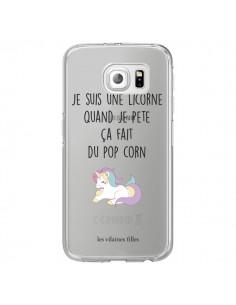Coque Je suis une licorne, quand je pète ça fait du pop corn Transparente pour Samsung Galaxy S6 Edge - Les Vilaines Filles