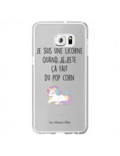 Coque Je suis une licorne, quand je pète ça fait du pop corn Transparente pour Samsung Galaxy S6 Edge Plus - Les Vilaines Filles