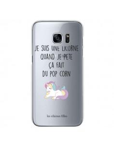 Coque Je suis une licorne, quand je pète ça fait du pop corn Transparente pour Samsung Galaxy S7 - Les Vilaines Filles