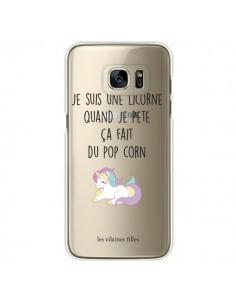 Coque Je suis une licorne, quand je pète ça fait du pop corn Transparente pour Samsung Galaxy S7 Edge - Les Vilaines Filles