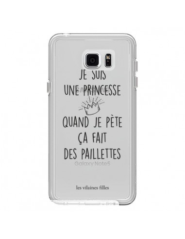 Coque Je suis une princesse quand je pète ça fait des paillettes Transparente pour Samsung Galaxy Note 5 - Les Vilaines Filles