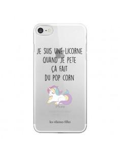 Coque Je suis une licorne, quand je pète ça fait du pop corn Transparente pour iPhone 6 et 6S - Les Vilaines Filles