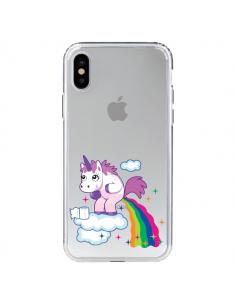 Coque Licorne Caca Arc en Ciel Transparente pour iPhone X - Nico