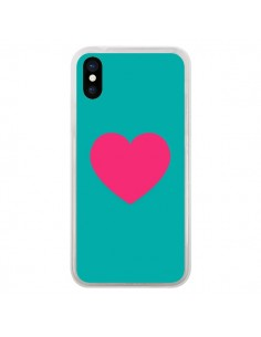 Coque Coeur Rose Fond Bleu pour iPhone X - Laetitia